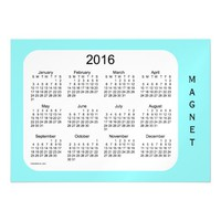 2016 Pale Turquoise Calendar by Janz 7x5 Magnet Magnetic Invitations