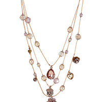 Betsey Johnson Patina Flower and Skull Illusion Necklace