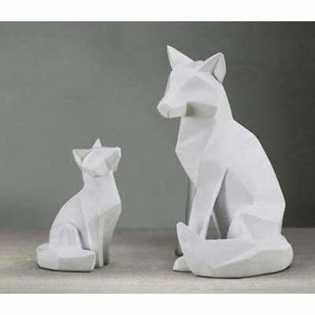 Simple White Abstract Geometric Fox Sculpture Ornaments Modern Home Decorations