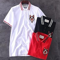GUCCI Summer New Popular Women Men Casual Dog Embroidery Short Sleeve Lapel T-Shirt Top Blouse(3-Color) I13072-1