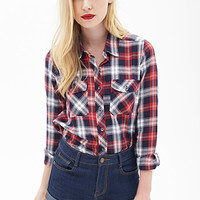 FOREVER 21 Classic Plaid Western Shirt Navy/Red
