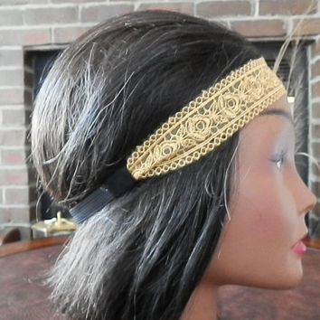 Boho Lace Headband, Floral lace head bands, Great Gatsby, Wedding headband, Hair band, Bohemian head wrap, Gold, Fashion accessory for women