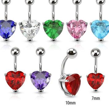 Solitaire Heart Belly Ring