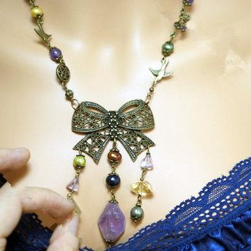 Raw Amethyst Necklace - Bronze Butterfly Necklace - Knot Earrings - Bridal Rough Large Chunky Boho Trib Amethyst Necklace