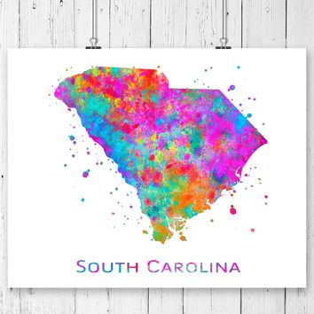 South Carolina Map Art Print - Unframed