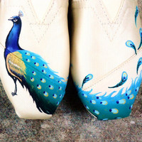 Peacock  on grosgrain TOMS
