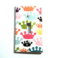 Multi Colored Princess Crowns Light Switch Cover