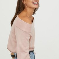 Off-the-shoulder Sweater - Dusty rose - Ladies | H&M US