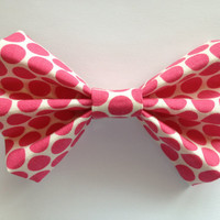 Cream Hair Bow with Pink Polka Dots
