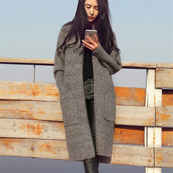 Long Cardigan Women 2017 New Fashion Autumn Winter Sweater Women Casual Long Sleeve Knitted Cardigan