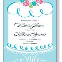 BRIDAL SHOWER INVITATIONS, BLUE CAKE, MINDY WEISS
