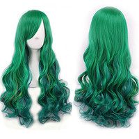 "TLT 27.5"" Women's Wig Gradient Long Hair Heat Resistant Curly Cosplay Wigs Harajuku Style Lolita (Dark green) Valentine's Day present BU036D"