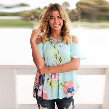 Off Shoulder Sleeveless Flower Print Top