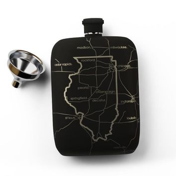State Maps Pocket Flask - Matte Black