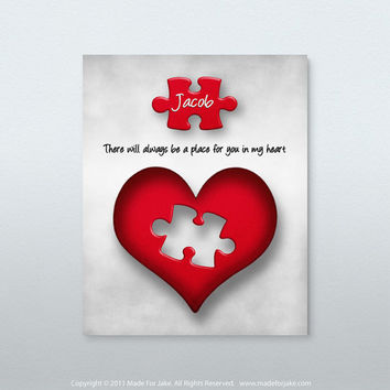 Heart puzzle nursery or child room wall art print - 8x10 Personalized