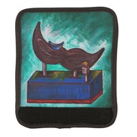 Mustache Ride Original Art Twisted Funny Painting Luggage Handle Wrap