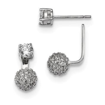925 Sterling Silver Rhodium-plated CZ Front and Back Earrings