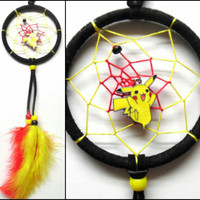 "Pokemon Pikachu dreamcatcher, small black 3"" ring, yellow and red web"