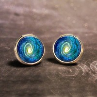 Space Swirl Stud Earrings - Swirly Outer-space art in earrings!