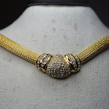 CHRISTIAN DIOR Vintage Gold Mesh Pave Rhinestone Focal Front Snap Choker Necklace, Magnificent! #A574A