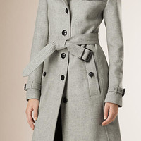 Wool Blend Trench Coat with Shearling Collar
