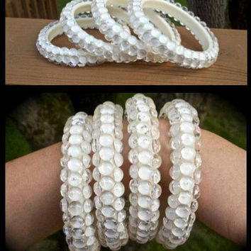 Texturized bangles in cream--Set of 4