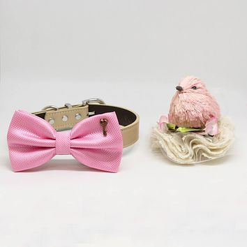 Pink Dog Bow tie Collar, Charm (Key to my Heart), Valentine's Day, Pet wedding, Puppy Love