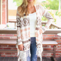Sweater Weather - Cream, Blush and Brown Cardigan