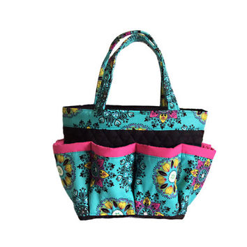 Turquoise Kaleidoscopic Print Bingo Bag // Craft Organizer // Makeup Organizer // Caddy // Teacher Tote // Nurse Tote