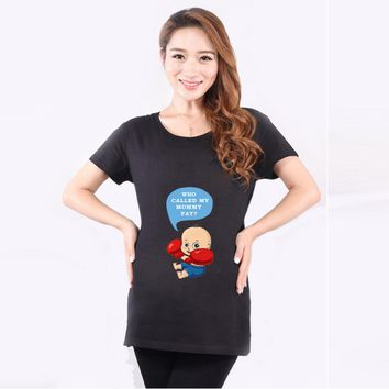 HOT Sale Summer Funny Pregnancy T Shirts For Pregnant Women Maternity Black Red Tops Tees Clothing Mamma Wear Clothes Plus Size