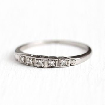 Diamond Wedding Band - Vintage Platinum Step Style 1940s Ring - Late Art Deco Size 5 1/2 5 Stone Bridal Wedding Fine Single Cut Jewelry
