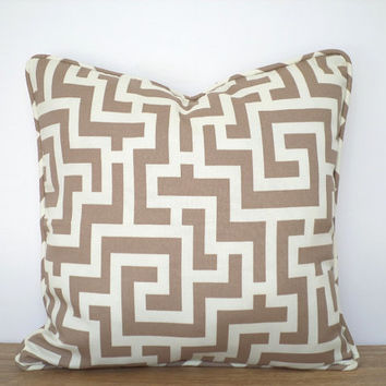 Geometric outdoor pillow case, greek key cushion cover 18x18, lounge chair cushion outdoors, beige pillow cover front porch decor