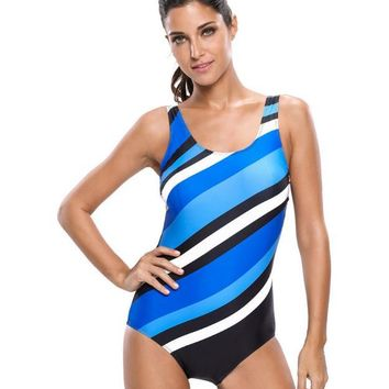 Striped chest pad elasticity of the small size of the conjoined swimsuit