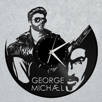 George Michael Modern Clock - Wall Art Clock, George Michael Clock, Vinyl Record Clock, Unique Wall Clock, Large Wall Clock, Vinyl Clock