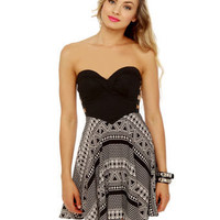 Sexy Strapless Dress - Print Dress - Structured Dress - $54.00