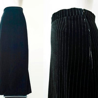 Black Velvet Pinstripe Maxi Skirt - 70's Vintage Skirt - Column Skirt - Long Evening Party Cocktail Skirt