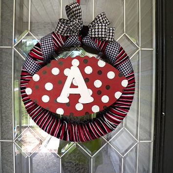 Alabama Football Wreath, Monogram Wreath, Red,White, Black  Ready to Ship