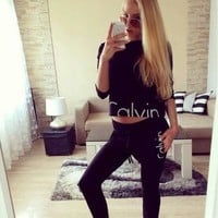 Calvin Klein Fashion Sport Top Pants Trousers Set Two-Piece Sportswear