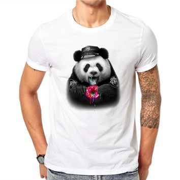 100% Cotton Donuts Panda Design Men T-shirt Lovely Animal Design Printed Male Cool Tops Short Sleeve Casual Tee T Shirts