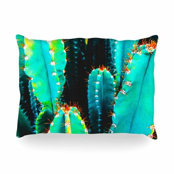 """mmartabc """"Desert Cactus Colorful"""" Blue Green Nature Travel Photography Painting Oblong Pillow"""