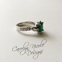 Emerald and White Sapphire Skull Engagement Ring by Carolyn Nicole Designs