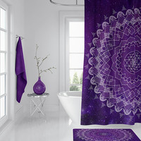 Purple Mandala Shower Curtain - dark purple space geometric boho chic fabric