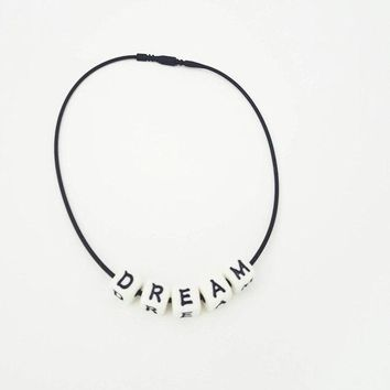 90's Fashion Choker, Block Letter Dream Necklace, Hipster Chokers