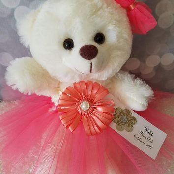 Flower Girl Gift Teddy Bear in Coral Tutu dress color