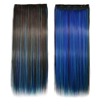 5 Cards Long Straight Hair Extension Wig    dark brown sky blue sapphire blue bleach and dye