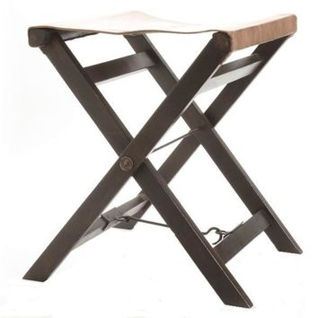 Pair, Folding Leather And Wood Camp Stools