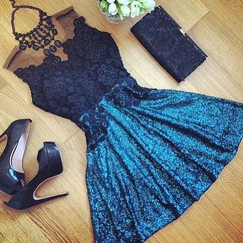 Casual  Dress Perspective Lace Splicing   Backless Sleeveless Simple Usable Fashion Chic  Newest Perfect Trend