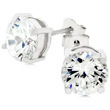 Christa Round Cut Stud Earrings – 7mm  | 2ct | Cubic Zirconia | Sterling Silver