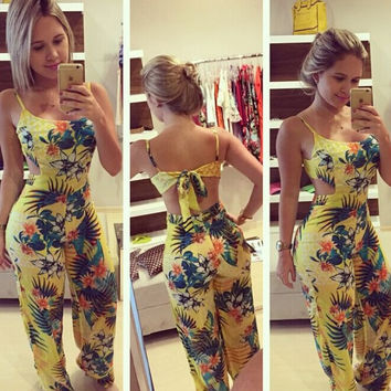 Sexy Mosaic Print Set Summer Women's Fashion Jumpsuit [6048555777]
