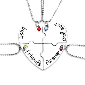 4 Pcs Hot Sale Heart Pendant Best Friends Forever Necklace Stitching Friendship Pendant Necklaces Christmas bff Necklace Gifts